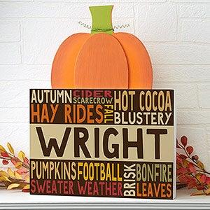 Personalized Pumpkin Tabletop Decor - Fall Fun - 16232