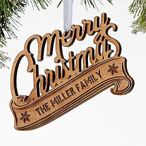 Personalized Wood Christmas Ornaments - Merry Christmas