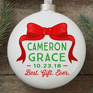 Personalized Baby Christmas Ornaments - Best Gift Ever Porcelain Globe - 16239