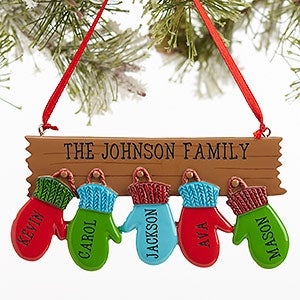 Personalized family ornament with 5 names warm mitten for Custom christmas tree ornaments