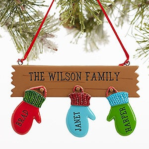Warm mitten family personalized christmas ornaments 3 for Christmas ornaments clearance