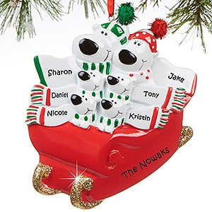 Personalized Family Christmas Ornaments - Polar Bear Sled - 16249