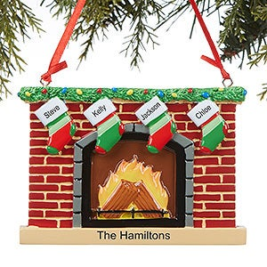 Personalized Family Christmas Ornaments - Stocking Fireplace - 16250