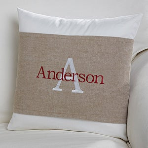 Personalized Family Throw Pillow : Personalized Throw Pillow with Wrap - Family Initial