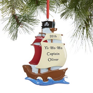 Pirate Ship Personalized Christmas Ornaments - 16263