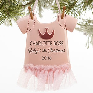 Personalized Baby Christmas Ornaments - Baby Girl Bodysuit - 16265