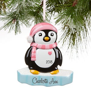 Personalized Girl Penguin Christmas Ornament - 16266