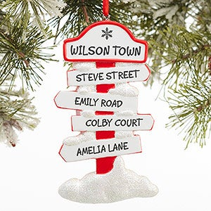 Personalized Christmas Ornaments - North Pole Family Sign - 16268