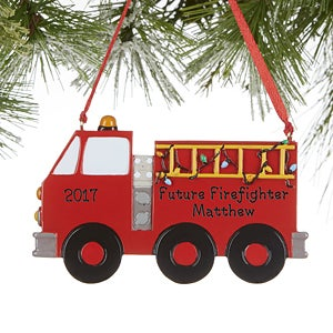 Personalized Firetruck Christmas Ornaments - Future Firefighter - 16269
