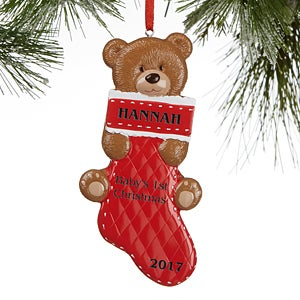 Baby's First Christmas Personalized Christmas Ornaments - Teddy ...