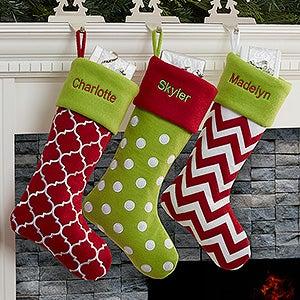 Personalized Felt Christmas Stockings - Holiday Tidings - 16276