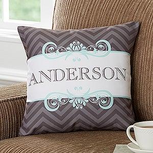 Personalized Family Name Throw Pillows - Classic Chevron - 16299