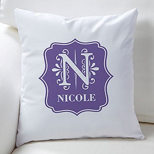 Personalized Throw Pillows - Blooming Monogram - 16305