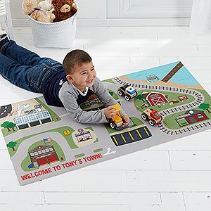 Transportation Village Kids Personalized Town Play Mat - 16312