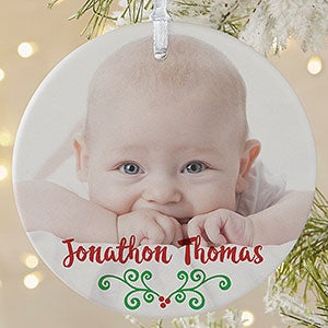 1 sided babys 1st christmas calendar photo ornament large on sale today