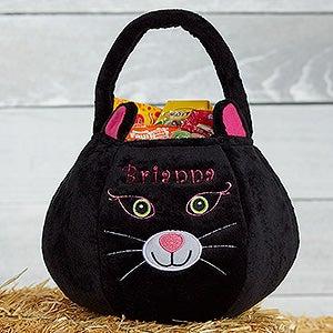 Personalized Plush Treat Bag - Black Cat - 16325