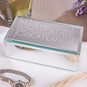 Engraved Mirrored Small Jewelry Box - Inspiring Messages