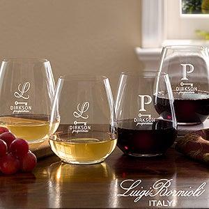 Personalized Logo Luigi Bormioli® Engraved Stemless Wine Glass Set - 16336