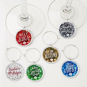 Personalized Wine Charm 6 Piece Set - Happy Holidays - 16340