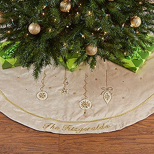 Personalized White Velvet Christmas Tree Skirt - Jeweled - 16351