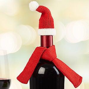 Santa Hat & Scarf Wine Bottle Decoration - 16358
