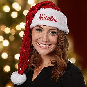 Personalized Sequin Santa Hats - 16361