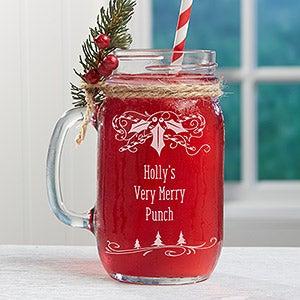 personalized christmas mason jars holly berry
