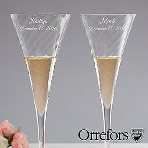 Orrefors Etched Helena Crystal Flute Set - 16367
