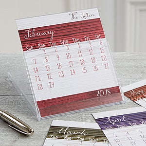 Family Love Personalized Desk Calendar - Rustic - 16373