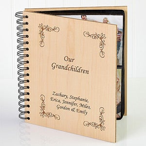 Personalized Wood Photo Album - Engraved For Grandparents - 1638