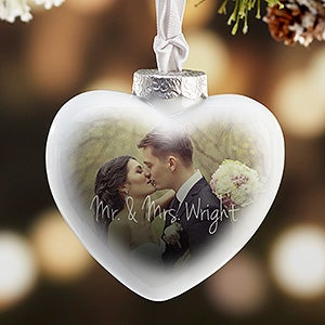 Wedding Photo Personalized Heart Christmas Ornament