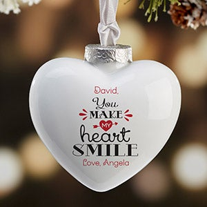 Personalized Heart Christmas Ornament - You Make My Heart Smile - 16392