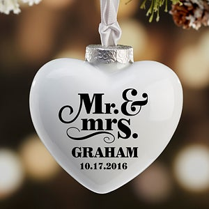 Personalized Heart Wedding Ornament - Happy Couple - 16395