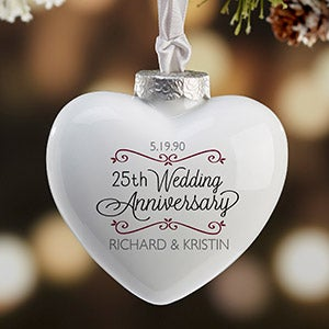 Personalized Heart Anniversary Christmas Ornament - Porcelain - 16396