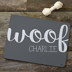 Personalized Pet Food Mat - Woof & Meow - 16419