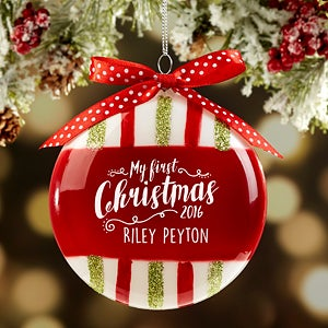 Personalized Glass Christmas Ornaments - Baby's First Christmas Glitter Stripes - 16449