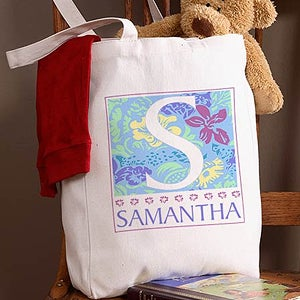 Personalized Girls Canvas Tote Bag - On the Go Design - 1647