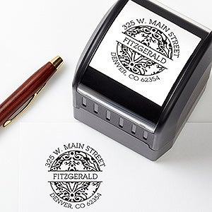 Personalized Return Address Stamp - Damask Greeting - 16472