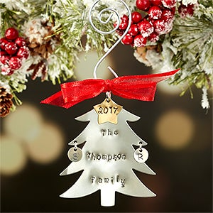 Personalized Christmas Ornaments - Hand Stamped Christmas Tree - 16482D