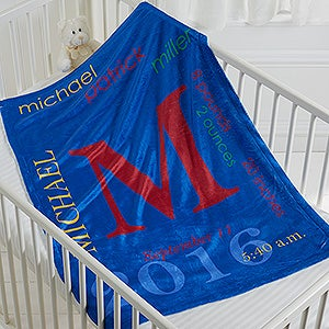 Personalized Baby Fleece Blanket - All About Baby Boy - 16485