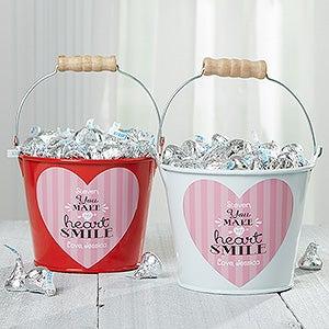 Personalized Mini Treat Bucket - You Make My Heart Smile - 16508