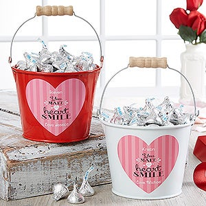 Personalized Mini Treat Bucket - You Make My Heart Smile - 16508
