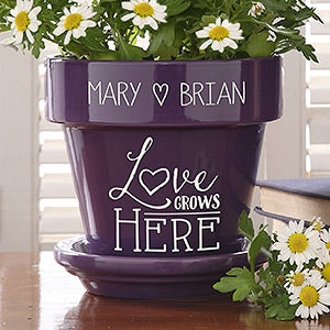 Personalized Flower Pots - Love Grows Here - 16513