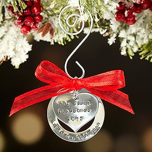 Personalized Couples First Christmas Heart Ornament - Hand Stamped - 16525D