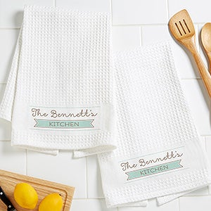 Our Family Personalized Kitchen Towel Set - Waffle Weave - 16532