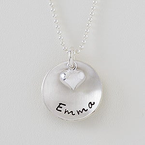 Personalized Stackable Round Disc Necklace - Layered Love - 16539D