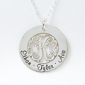 Personalized Family Monogram Necklace - Initial Monogram - 16540D