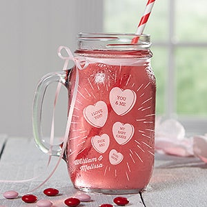 Personalized Mason Jar - Valentine's Day Conversation Hearts - 16549