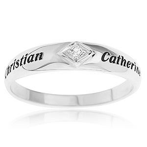 Personalized Couples Promise Ring - Sterling Silver - 16551D