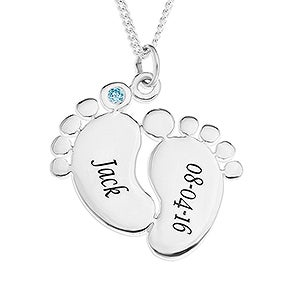 Personalized Baby Feed Necklace - Sterling Silver - 16553D